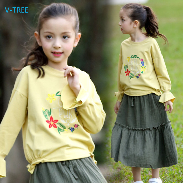 V-TREE Skirt Sets for girls Spring&Autumn girl's mid-calf Skirt Children Clothes t-shirt&skirt Two Pieces