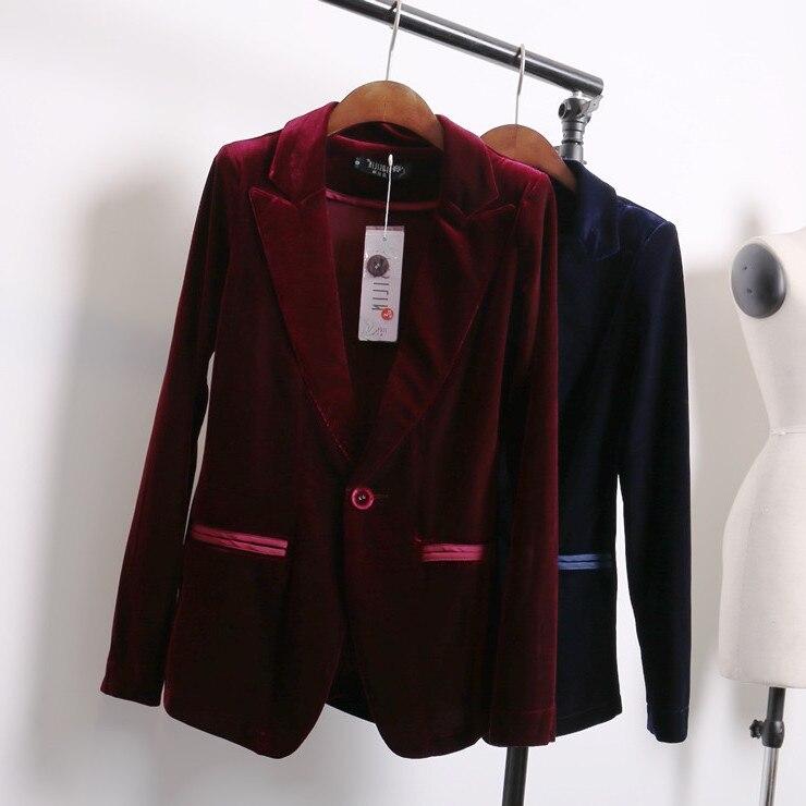 €22.01 13% de réduction|Rouge bleu velours blazer femmes bleu marine dames blazer designs femmes costume veste hiver manteau veste femme blazers