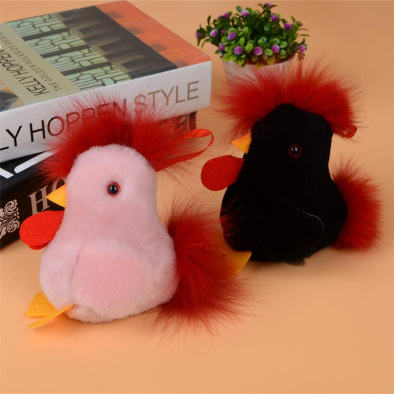 Red Black Cock Puffy Rabbit Keychain Rex Rabbit Fur Bag Womens Handbag Toys Ssangyong Hair Doll Keychain Keychain Jewelry