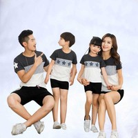 Family Suit Summer 2019 New Printing Round collar Short sleeve For Mother Daughter And Father Son Parent child outfit