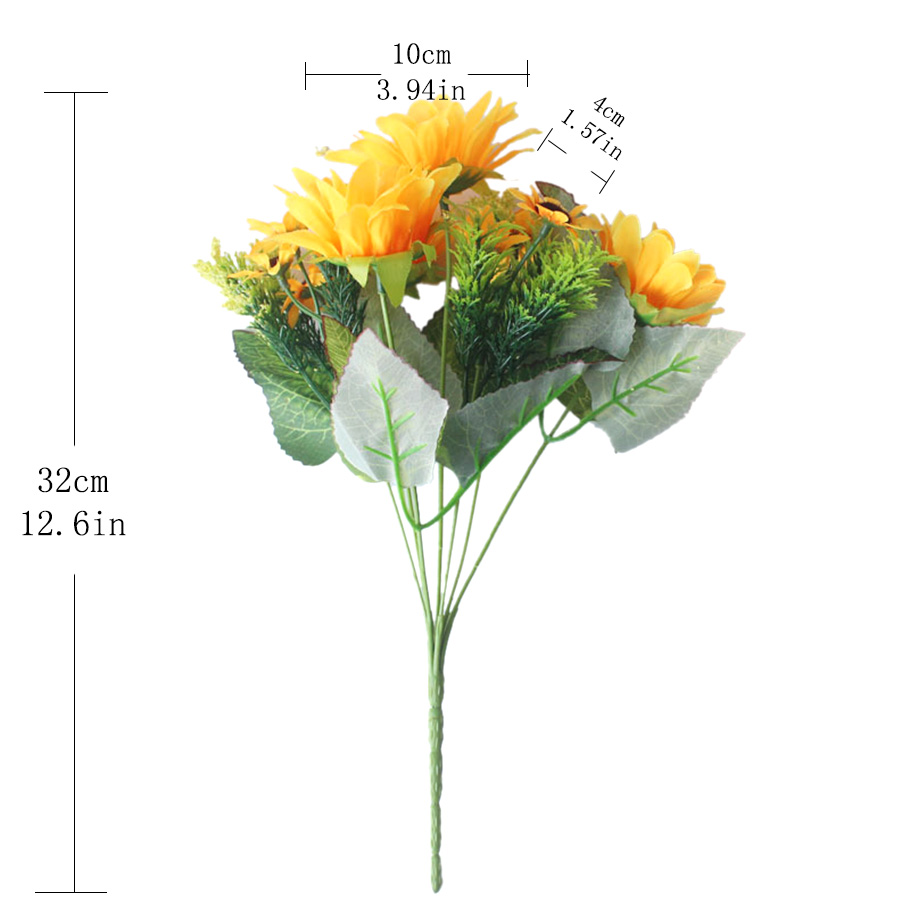 Artificial Silk Flowers Sunflower For Home Decoration Yellow Big