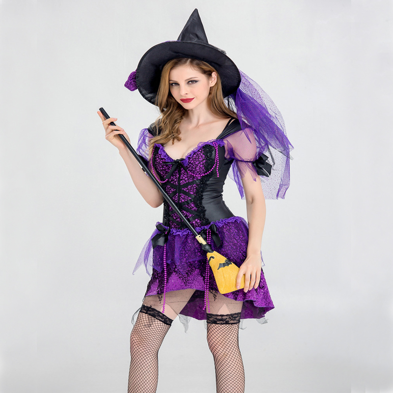 Free shipping Women 2018 New Halloween witches games cosplay costumes sexy women stage for adult