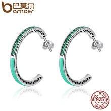 Genuine 925 Sterling Silver Radiant Hearts, Light Pink Enamel & Clear Hoop Earrings (7 colors)