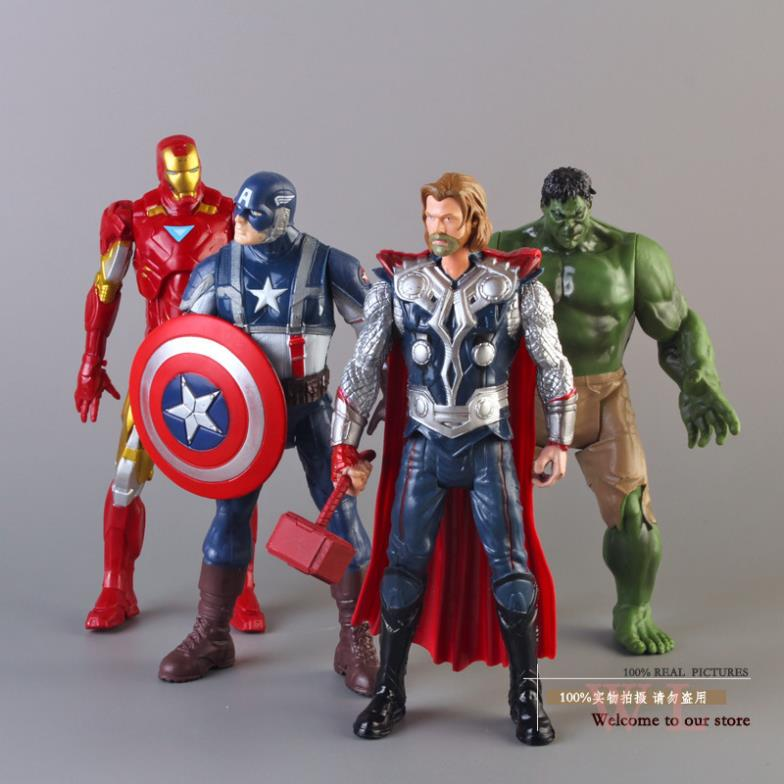 Free Shipping The Avengers Iron Man+Hulk+Thor+Captain America Action Figures Toys Toy Figures 8 20CM 4pcs/set HRFG176 captain america 12in 1pcs set pvc figures the avenger marvel captain america action anime figures kids gifts toys