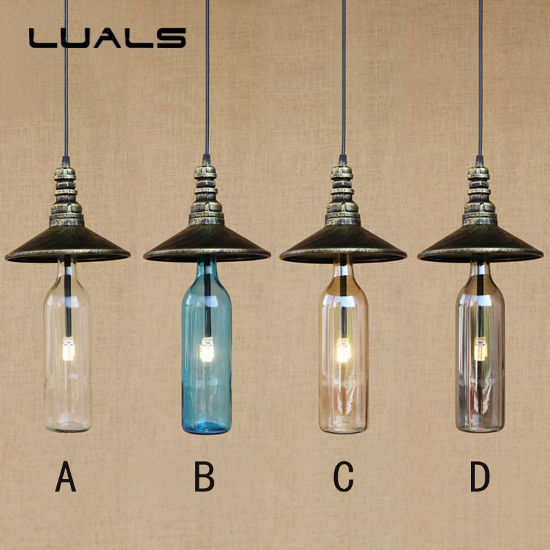 American Style Restaurant Retro Light Loft Creative LED Lamp Cafe Bar Pendant Lights Personality Glass Bottle Art Deco Lighting купить