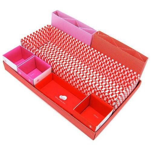 GSFY-Red DIY Cute Desktop Desk Table Organiser Storage Stationery Makeup Box In Box