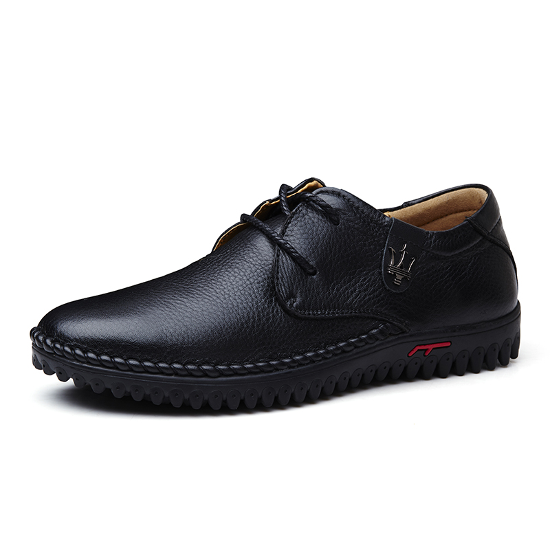 ФОТО Spring business casual leather male genuine leather lacing cowhide soft outsole small 35 36 37 plus size 45 46 47 free shipping