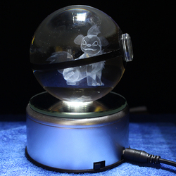 Growlithe Design Poke Ball Crystal Pokemon LED Night Light 3D Miniatures Birthday Gifts