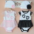 2 шт./лот мальчик девочка одежда с коротким рукавом кружева юбка + hat 2016 летний ребенок ползунки новорожденных следующий комбинезон продукт младенца