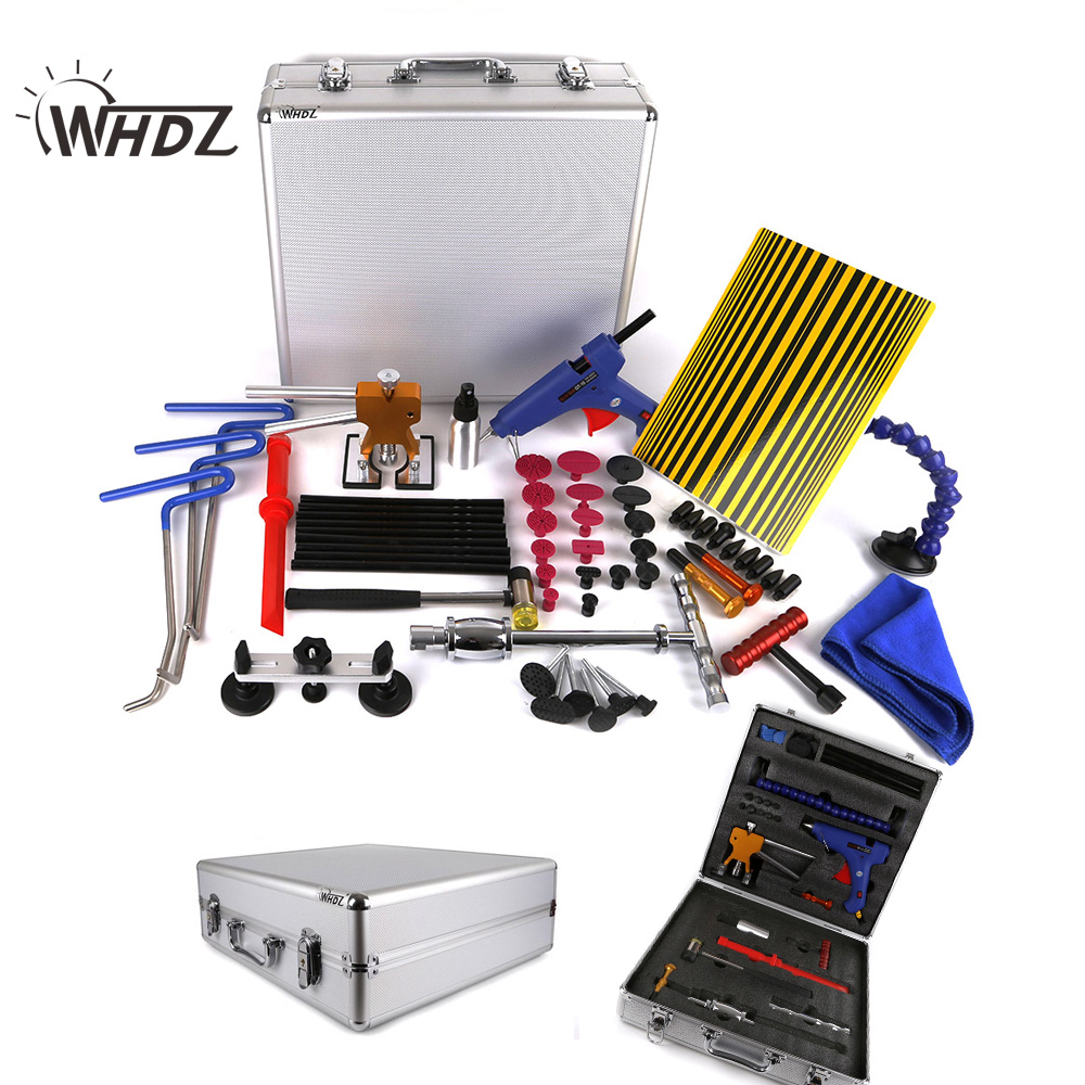 WHDZ (68 PCS) PDR Tool with Box - Sider Hammer Glue Gun Tabs Glue Sticks PDR Pro Tabs Tap Down Line Board Body Dent PDR Tool Kit pdr tool pdr brace tool b4