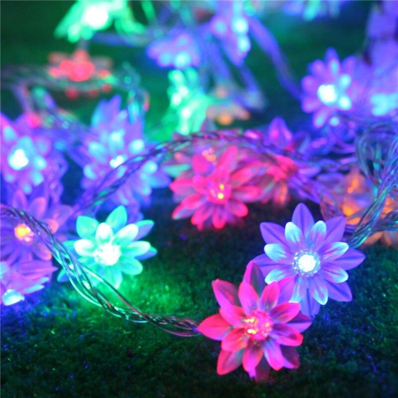 8 м 50 светодиодный светильник цветы лотоса Батарея управляется Фея Декоративные огни на Рождество Свадебные украшения Гирлянда освещение