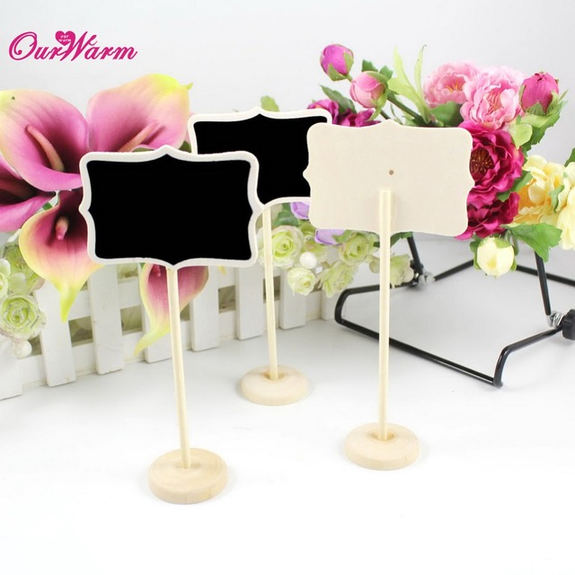 6Pcs/lot Vintage Mini  Wood Chalkboard Blackboard Wooden Place Card Holder Table Number for Wedding Event Party Valentine Day
