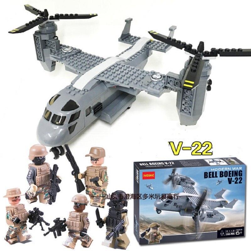 Decool 2113, 318 piezas de la policía de la asamblea modelo de los aviones de guerra Osprey helicóptero Asamblea bloques lego conjunto militar para minifigura