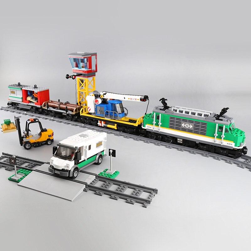 En Stock 02118 série de la ville le Train de fret Set compatible ville Train 60198 blocs de construction briques éducation jouets pour enfants