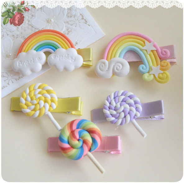 Polymer Clay Stereo Cartoon Rainbow Lollipop Baby Girl Hair Clip Hairpin Toddler Kid Children Hair Accessories Headwear kk1007 8 pieces children hair clip headwear cartoon headband korea girl iron head band women child hairpin elastic accessories haar pin