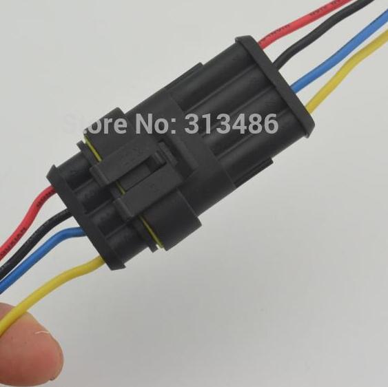 Auto 4 Pin wire connector 4 Way 4P auto connector Male & Female ...