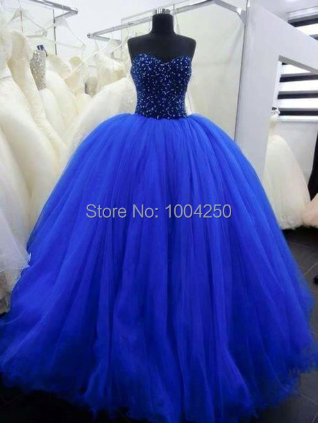 Dark Blue Ball Prom Dresses