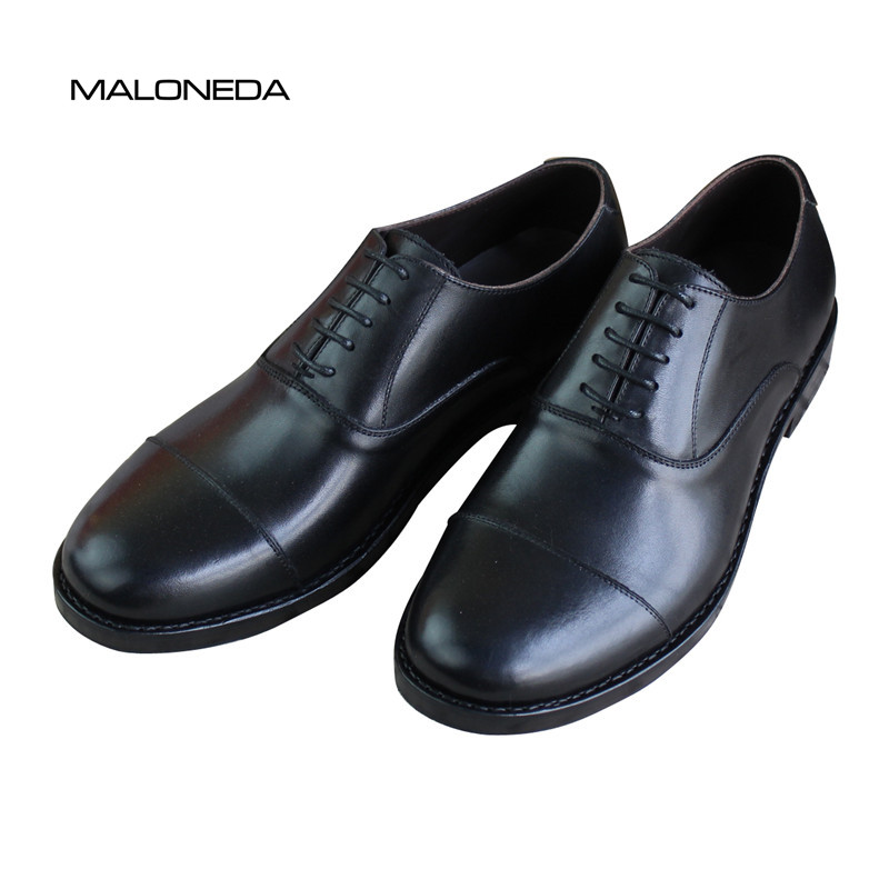 MALONEDA Handmade Solid Color Black/Brown Men's Dress Shoes 100% - Men's Shoes
