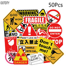 50PCS Waterproof Sunscreen PVC Warning Banning Sign Decal Labels Funny Removable Car Fridge Suitcase Graffiti Stickers 56pcs waterproof sunscreen pvc retro decal labels funny removable car fridge luggage suitcase travel graffiti stickers