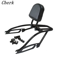 New Black Detachable Motorcycle 2 Up Backrest Sissybar W Luggage Rack For Harley Street 500 750