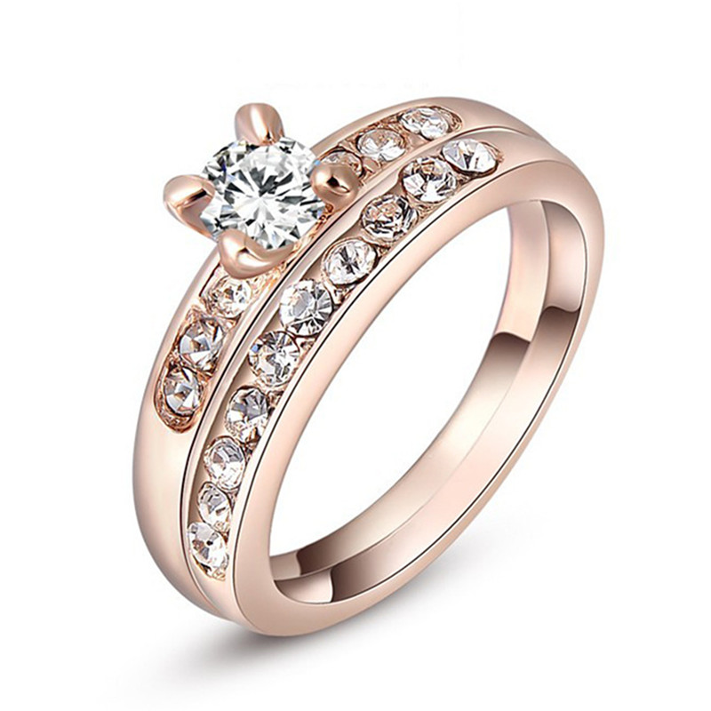 2PCS Lot Rose Gold Plated Wedding Engagement Rings For Women Size 5 6 7 8 9 A