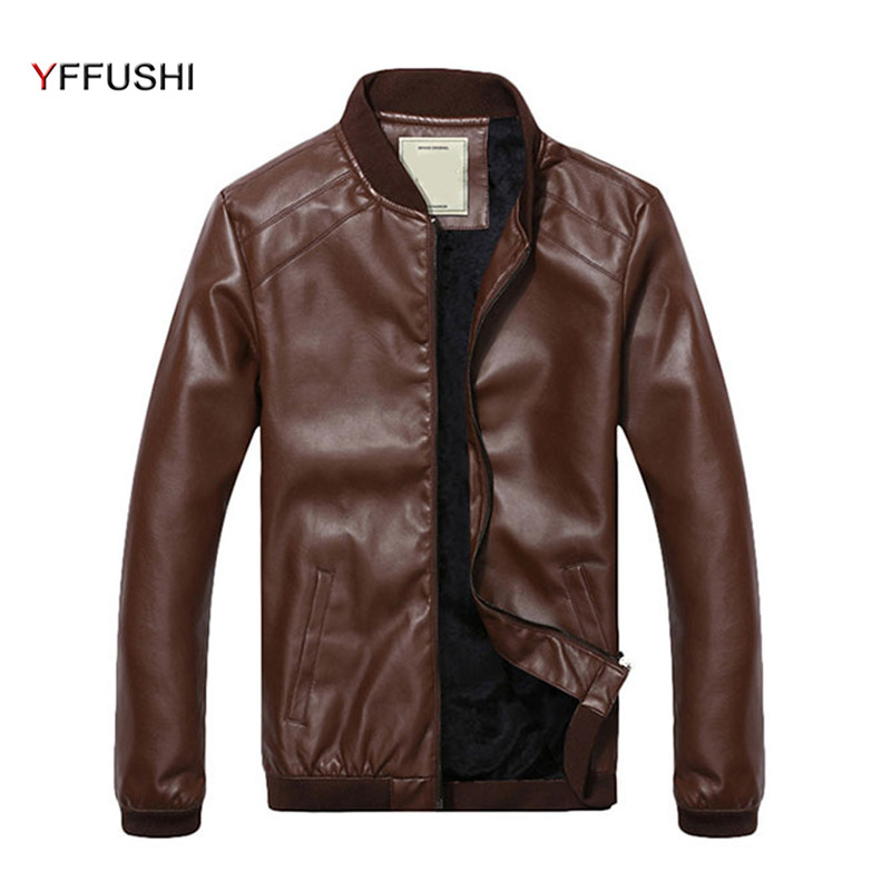 YFFUSHI New Fashion Leather Jacket Men Spring Autumn Jackets Men Navy Black Khaki Coffee Stand Collar