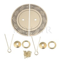 BQLZR 11x0 8mm Brass Round Plate Drawer Cabinet Door Pull Handle U Shape Pin Furniture Hardware