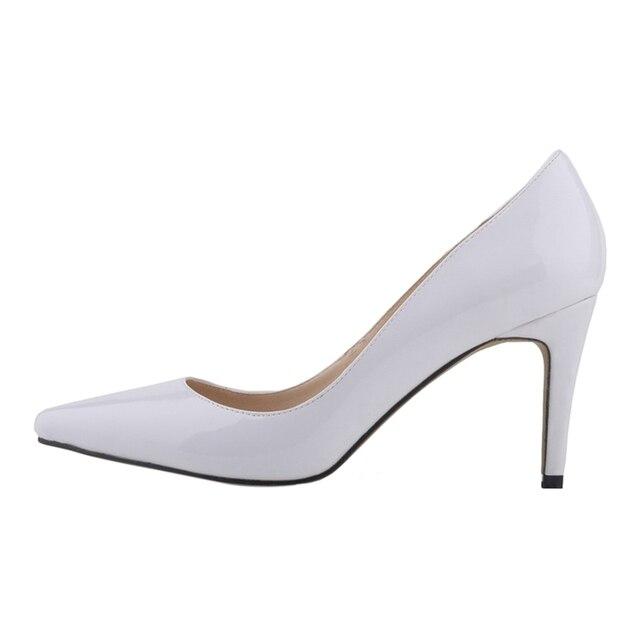 767198ffe5 LOSLANDIFEN das mulheres boca Rasa apontou stiletto toe sapatos de salto  alto Branco