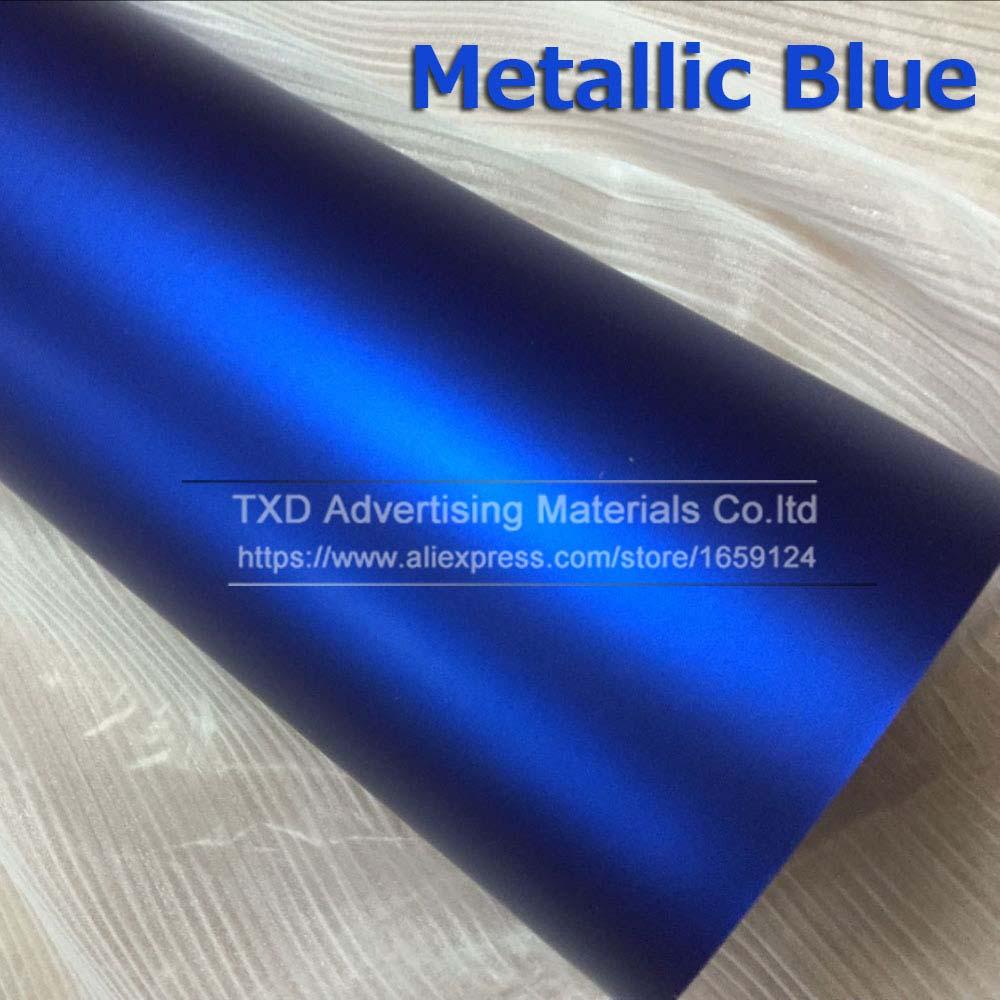 1,52*5 м/10 м/15 м/20 м в рулоне Премиум атласный металлический матовый хром Красный Синий Зеленый Виниловая пленка без пузырей - Название цвета: blue