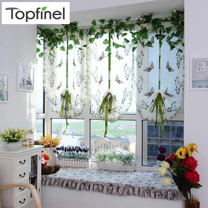 Topfinel butterfly tulle fantasy Roman curtain blinds embroidered voile sheer Curtains for kitchen living room the bedroom panel