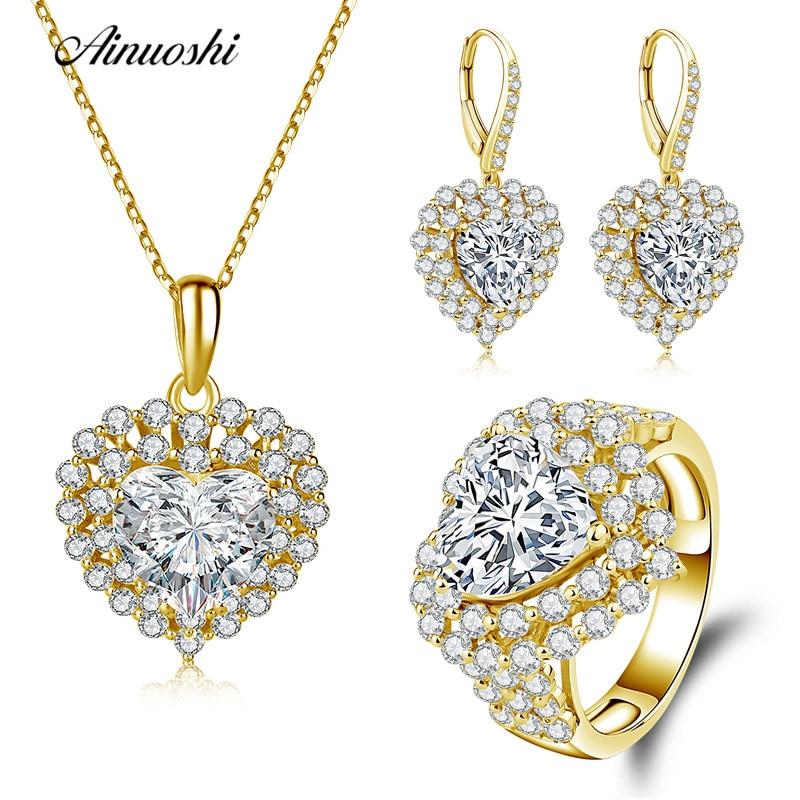 все цены на AINUOSHI 10K Solid Yellow Gold Jewelry Set Heart Cut Pendant Halo Ring Drop Earring Engagement Wedding Lovers Jewelry Set Gift онлайн