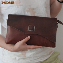 PNDME simple genuine leather men's and women's clutch bag casual handmade crazy horse cowhide leather wallet mobile phone bag