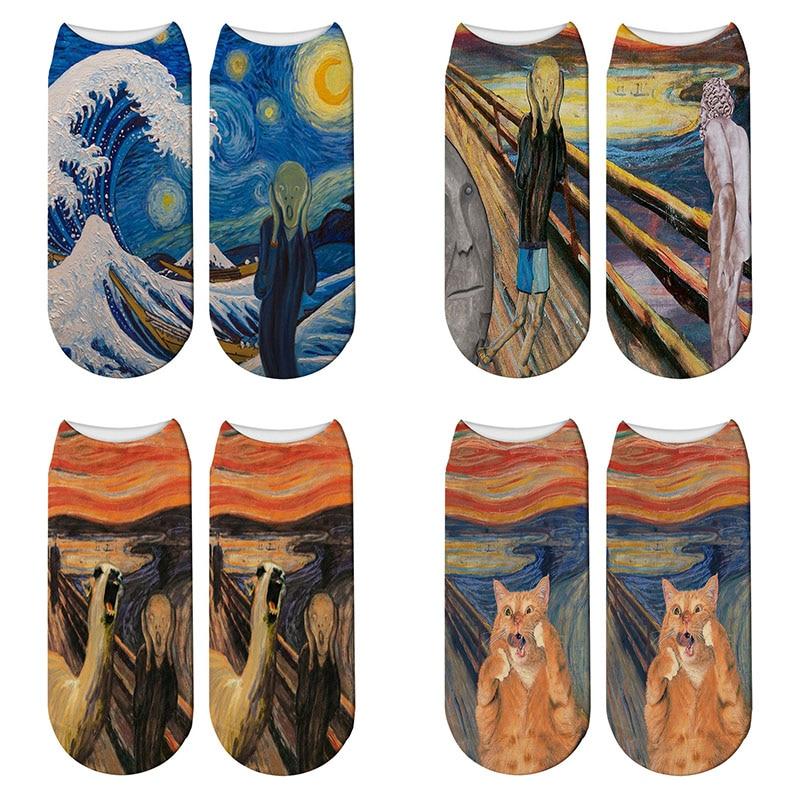3D Retro Print Art Funny Socks Women Novelty The Scream Starry Night Cotton Socks Van Gogh Oil Painting Kawaii Ankle Socks