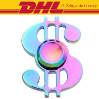 50PCS DHL Fidget Spinner Dollor Metal Rainbow Colorful Finger Spinner Toys Anti Stress Rainbow Color Metal