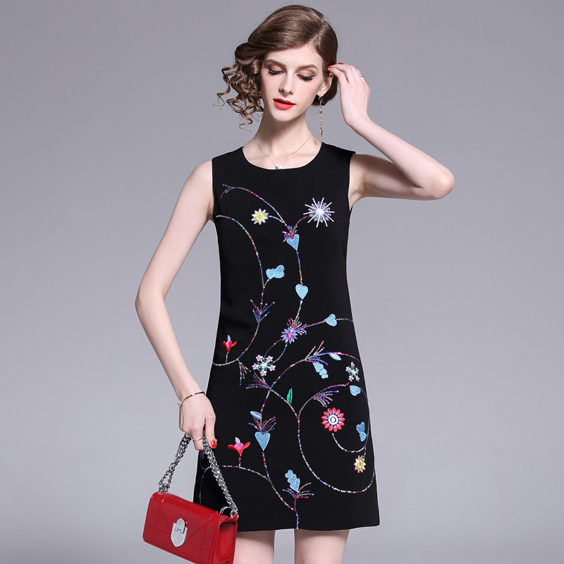 Summer 2019 New Dresses Female Embroidery Sequins Sleeveless Printed Vest Short Black Temperament Comfortable ZX0016 in Dresses from Women 39 s Clothing