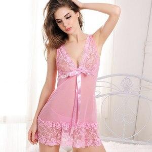 Image 4 - Summer Women New Sexy Sleepwear Sleep Dress Nightgowns Female Ladies Nightdress Camison Sexy Nightgown with G string Free Ship