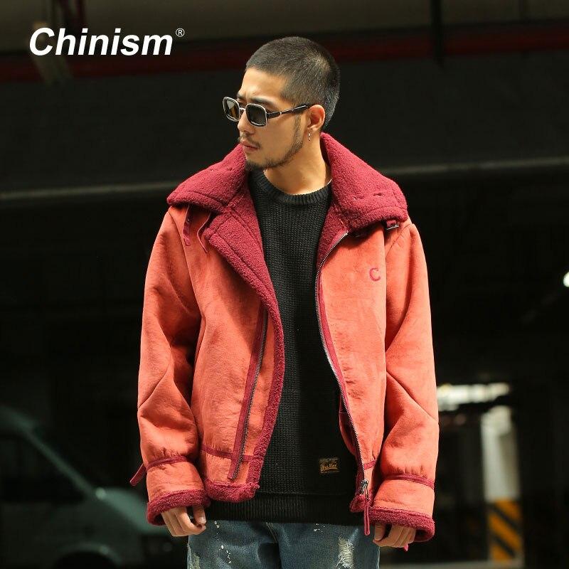 CHINISM Winter Lamb Wool Dark Red Anorak Jackets Mens B3 Bomber Jacket Retractable Cuff Turn Down Collar Thick Warm Coat Parkas retro anorak dark navy
