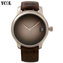 YCOL Mens Watches Top Brand Luxury AR Watch Men Date Luminous Clock Quartz-Watch Sport Leather Wristwatch relogio masculino Nomo