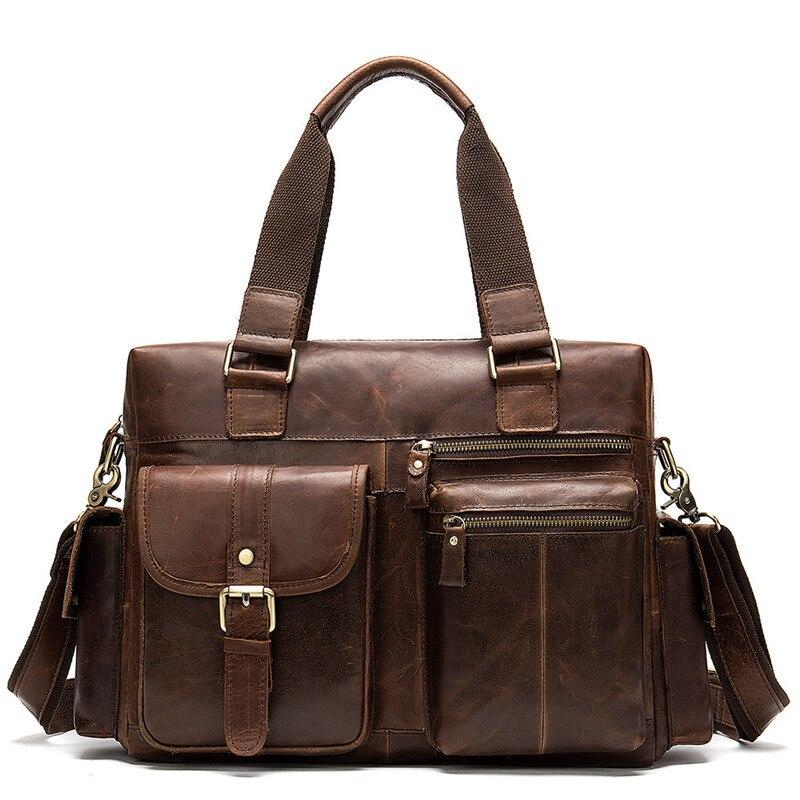PNDME high quality vintage crazy horse cowhide briefcase large capacity genuine leather men's laptop bag handbags work bags