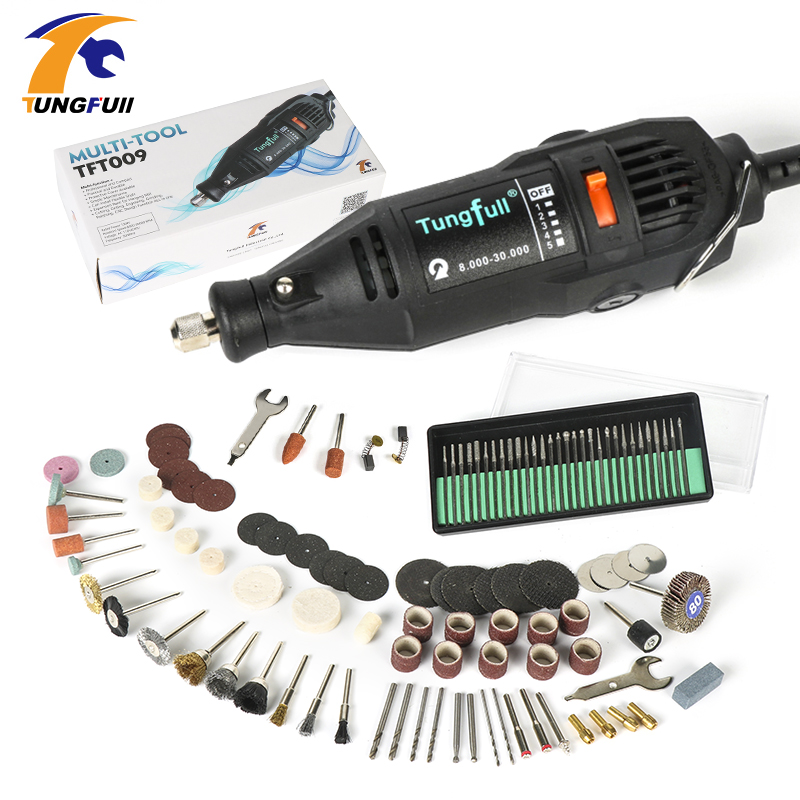Tungfull US 110V  EU 220V 130W Dremel Style Electric Rotary Tool Variable Speed Mini Drill with 106PC Accessories Power Tools tungfull 130w dremel style electric rotary tool variable speed mini drill with flexible shaft and 124pc accessories power tools