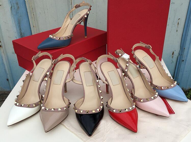 Nouveau style marque femmes sandale 6 cm 8 cm 10 cm chaussures à talons hauts mode d'été femmes chaussures de mariage bout pointu grande taille 34-43 boîte