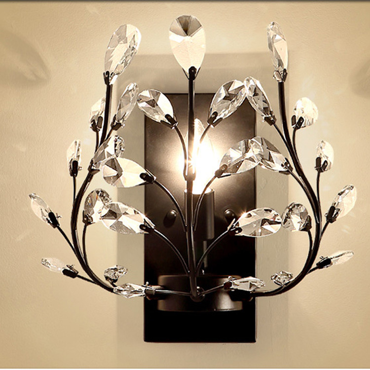 Crystal Bedroom Bedsides Wall Sconce Luxury Gold Palace Gate Crystal Leaf Wall Lights European Living Room Wall Lighting Fixture crystal palace stoke city