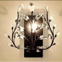 Crystal Bedroom Bedsides Wall Sconce Luxury Gold Palace Gate Crystal Leaf Wall Lights European Living Room Wall Lighting Fixture