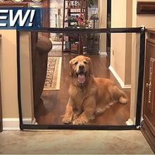 Dropshipping 2019 Dog Gate The Ingenious Mesh Magic font b Pet b font Gate For Dogs