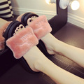 2016 Осенью новый женщина вьетнамки туфли на платформе меховые тапочки причинная женщина сандалии девушки розовые меховые шлепанцы плоские тапочки женщина