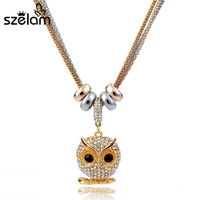 2015 New Silver Gold Plated Crystal Owl Necklace For Women Long Chain Statement Necklaces Pendants Vintage