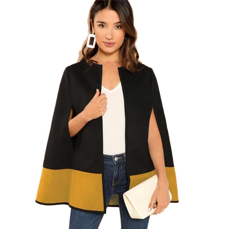SHEIN High Street Elegant Two Tone Open Front Cloak Sleeve Cape Plain Solid Coat Women Modern Lady Streetwear Cape Coats