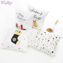 Merry Christmas 2019 Pillowcase Cotton Deer Santa Claus Ornaments Decoration For Home Noel Navidad Happy New Year 2020