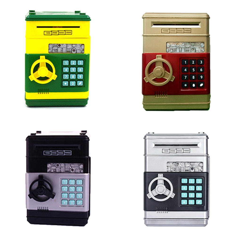 1 pc Password Mini Piggy Bank Cash Coins Money Bill Safe Box Lock Sound Battery Power Panda save money cans