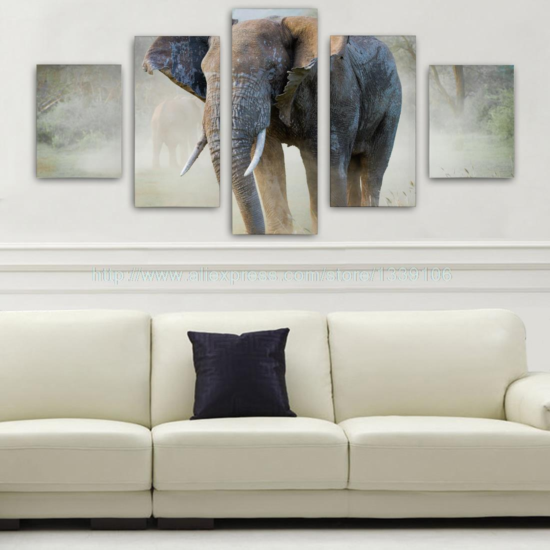 Unframed 5Pcs Wild Big Elephant Custom Wall Picture Decorative Art Print Painting On Canvas For Living Room Home Decoration
